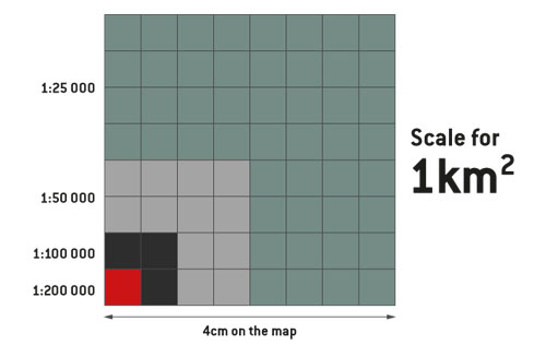 Walking map scales in comparison